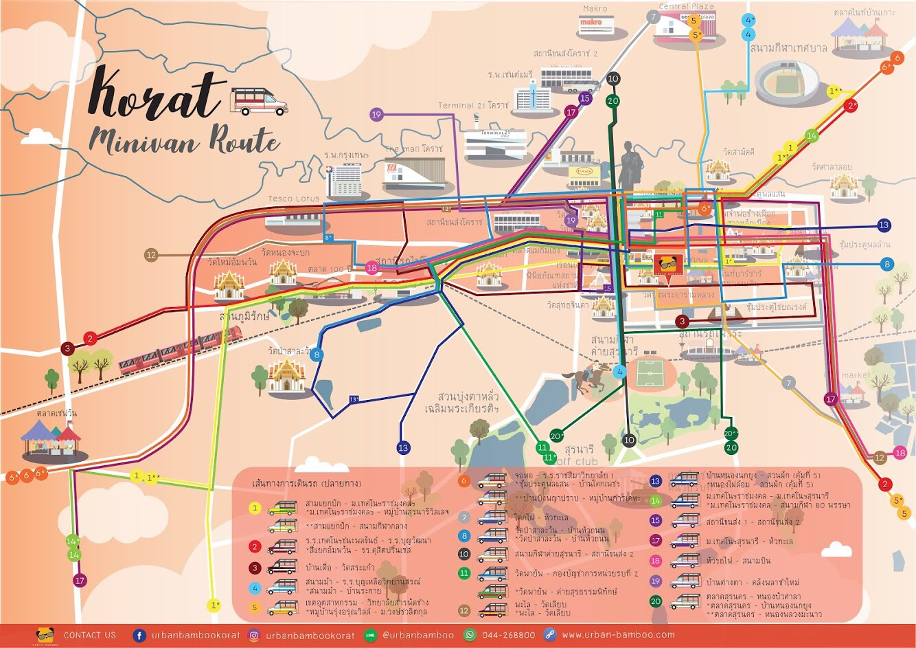 minivan route korat map